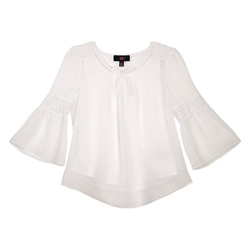 Girls 7-16 IZ Amy Byer Lace Inset Bell Sleeve Top