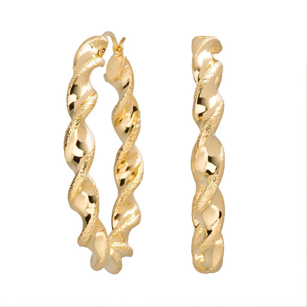 18k Gold Over Silver Twist Hoop Earrings