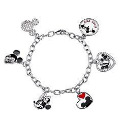 a6dc047ba4e Disney's Mickey & Minnie Mouse Sterling Silver Charm Bracelet