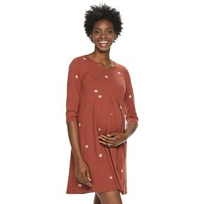 Maternity a:glow 3/4 Sleeve Empire Pleat Dress
