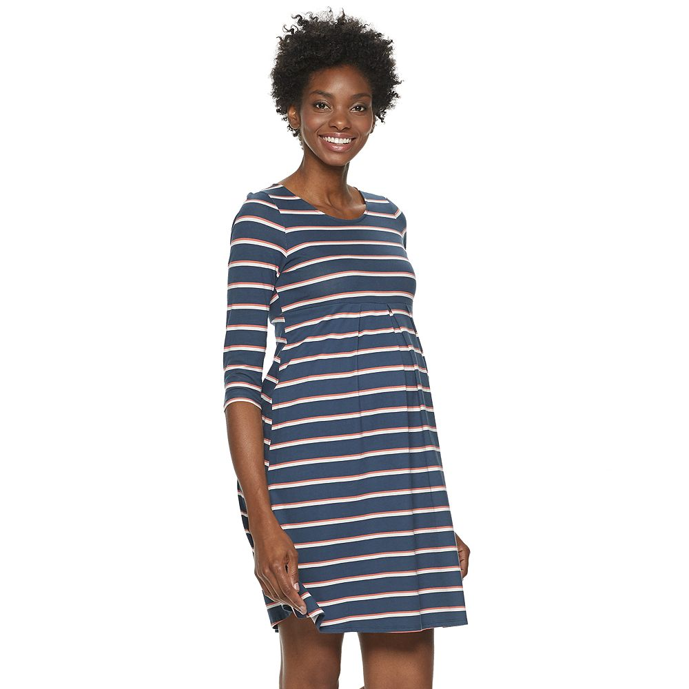 Maternity a:glow™ 3/4 Sleeve Empire Pleat Dress