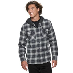 Men's Urban Pipeline? Hooded Button-Front Flannel Shirt