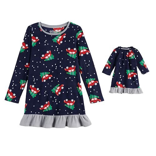 Girls 4-20 Jammies For Your Families Home For The Holidays Microfleece Nightgown & Doll Gown Set