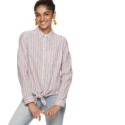 Women's POPSUGAR Knot-Front Button Down Shirt