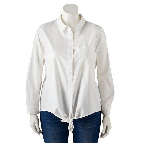 Plus Size POPSUGAR Tie-Front Button Up Shirt