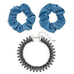 Women's SO® 2-Piece Denim Hair Tie with Lace Choker