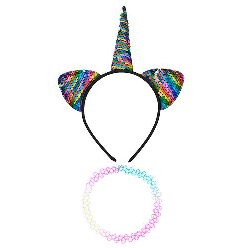 Women's SO® Rainbow Sequin Caticorn Headband with Tattoo Choker