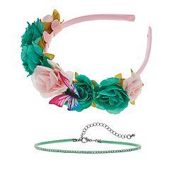 Women's SO® Flower Headband with Mint Choker