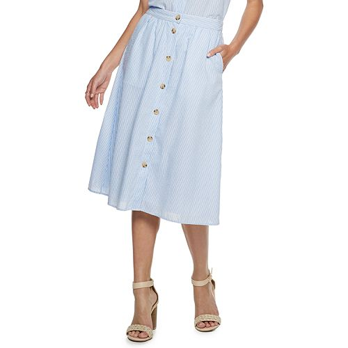 Women's Popsugar Textured Button Front Skirt by Kohl's