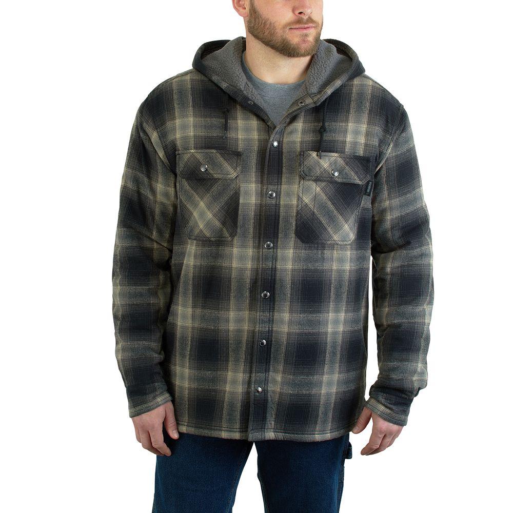Men's Wolverine Byron Hooded Plaid Flannel Shirt Jacket
