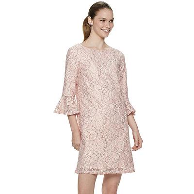 Women's ELLE? Bell-Sleeve Lace Shift Dress