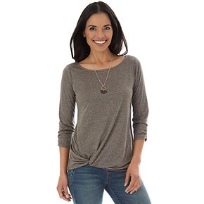 Women's Apt. 9® Ruched Sleeve Twist Front Top