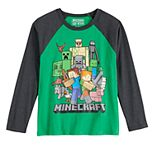 Boys 8-20 Minecraft Group Raglan Tee