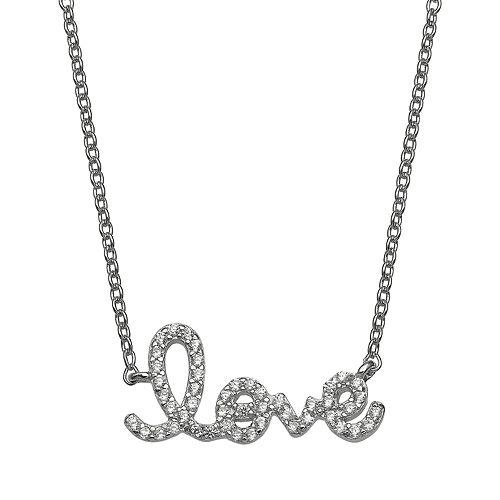 """PRIMROSE Cubic Zirconia """"Love"""" Necklace"""