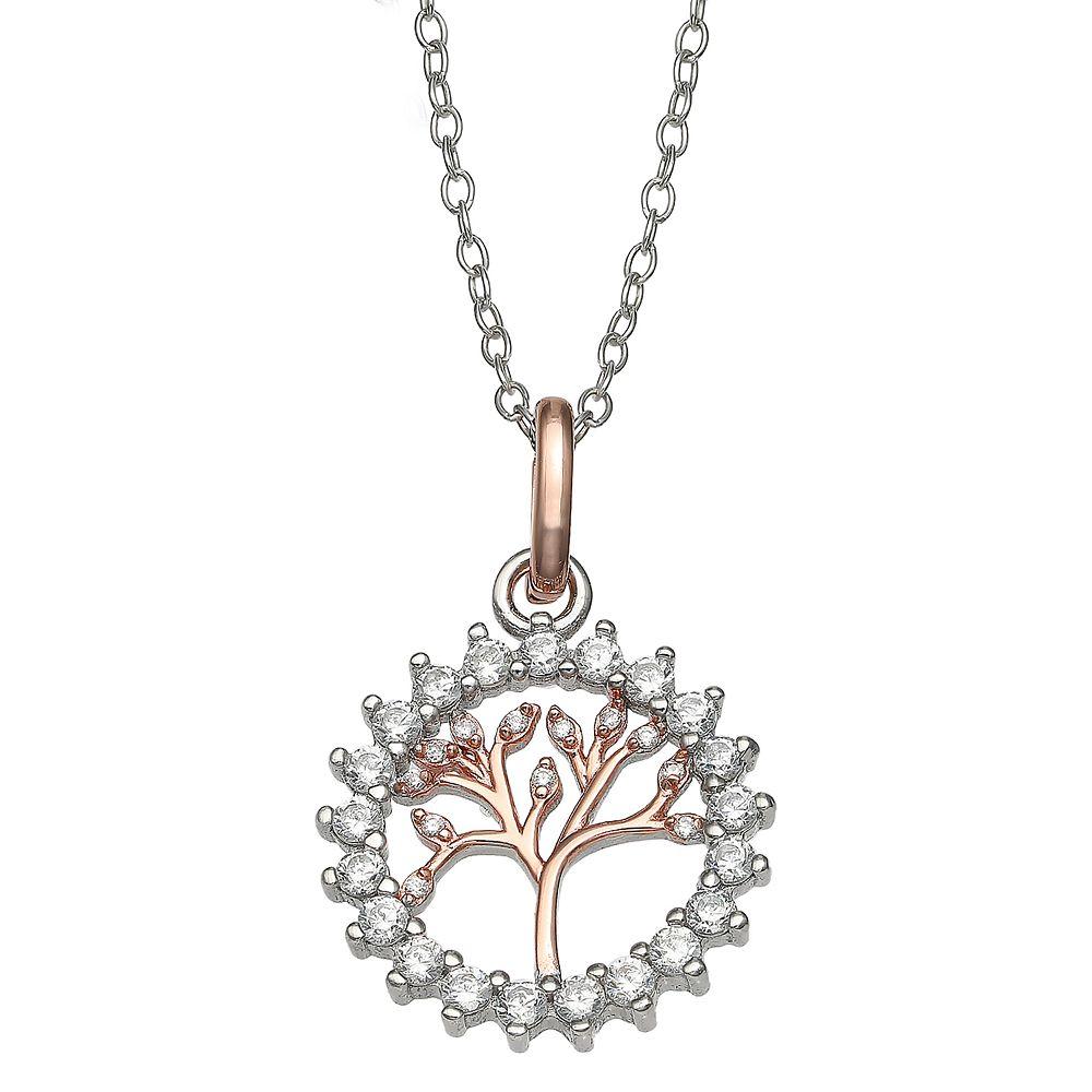 PRIMROSE Primrose Two Tone Cubic Zirconia Family Tree Necklace