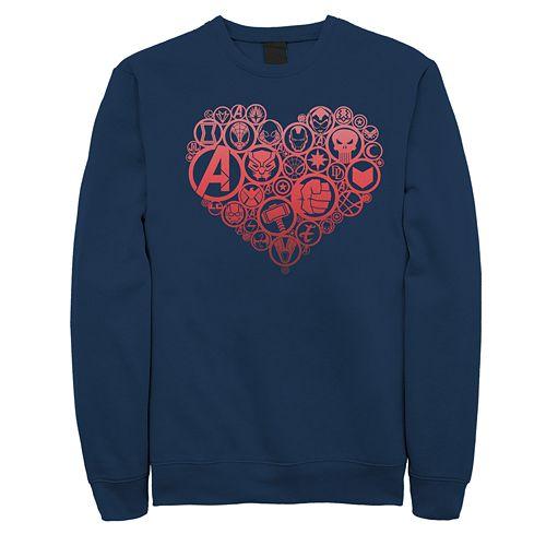 Juniors' Marvel Retro Hero Heart Icons Crew Fleece Sweater