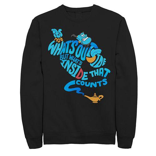 Juniors' Disney's Aladdin Genie Quote Body Crew Fleece Sweater