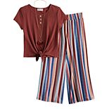Girls 7-16 Knitworks Knot Top & Striped Pants Set
