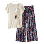 Girls 7-16 & Plus Size Knitworks Ruched Top & Floral Pants Set