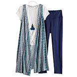 Girls 7-16 & Plus Size Knitworks Duster & Leggings 4-Piece Set
