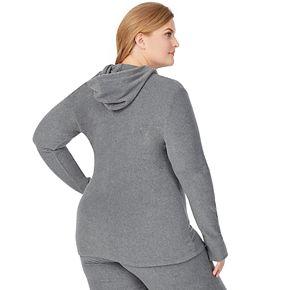 Plus Size Cuddl Duds Fleecewear with Stretch Long Sleeve Half Zip Hoodie