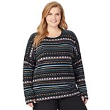 Women's Plus Size Cuddl Duds® Fleecewear with Stretch Lounge Long Sleeve Pullover