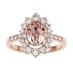 9287cf93c Brilliance Swarovski Crystal Oval Stone Flower Ring