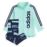 Girls 4-6x adidas Ruffle-Hem Jacket & Wave Leggings Set