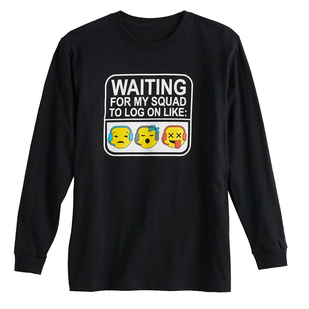 """Boys 8-20 """"Waiting For My Squad"""" Long Sleeve Graphic Tee"""