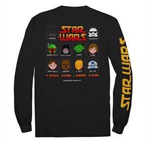 Boys' 8-20 Star Wars 8-Bit Characters Long Sleeve Graphic Tee