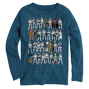 Boys' 8-20 Star Wars 8-Bit Characters Long Sleeve Graphic Tee