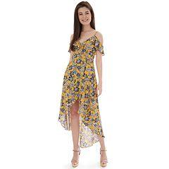 11649b42eec Juniors' IZ Byer Cold Shoulder High-Low Maxi Dress