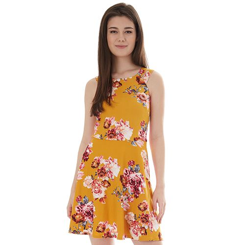 Juniors' IZ Byer Double Banded Halter Skater Dress