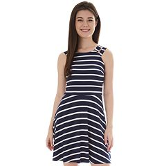 3b496be5e Juniors' IZ Byer Double Banded Halter Skater Dress