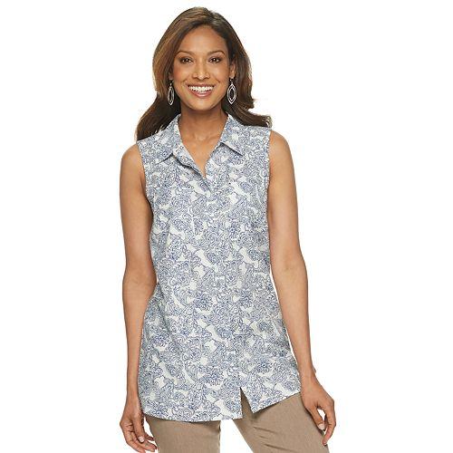 9f4033cce44 Women's Dana Buchman Sleeveless Linen-Blend Button Front Top