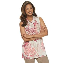 Women's Dana Buchman Sleeveless Linen-Blend Button Front Top
