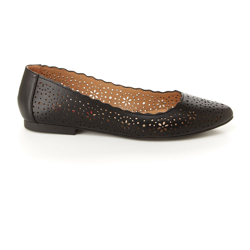 These Unionbay casual flats will be one of the most comfortable pairs of shoes you\'ll have, with flexible sole and cutout details that are perfect for Spring to Summer wear. SHOE FEATURES Memory foam footbed for comfortability Cutout details & scalloped edge SHOE CONSTRUCTION Polyurethane upper Manmade lining TPR outsole SHOE DETAILS Almond toe Slip-on Foam footbed Spot clean Size: 6. Color: Black. Gender: female. Age Group: adult.