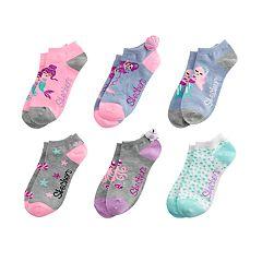 Girls 7-16 Skechers 6-pack Low-Cut Mermaid Socks