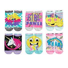 Girls 7-16 Skechers 6-pack Side by Side Low-Cut Emoji Socks