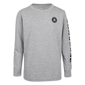 Converse Boys' Long Sleeve Chuck Patch T Shirt, Dark Grey at