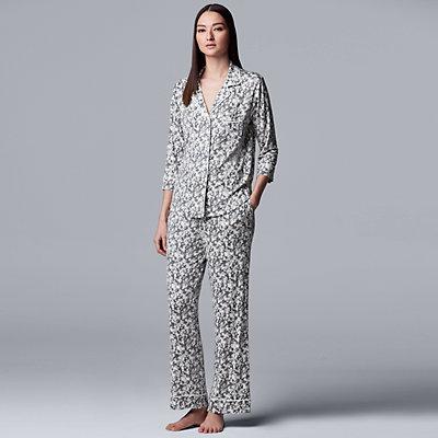 Women's Simply Vera Vera Wang Notch Collar Pajama Set