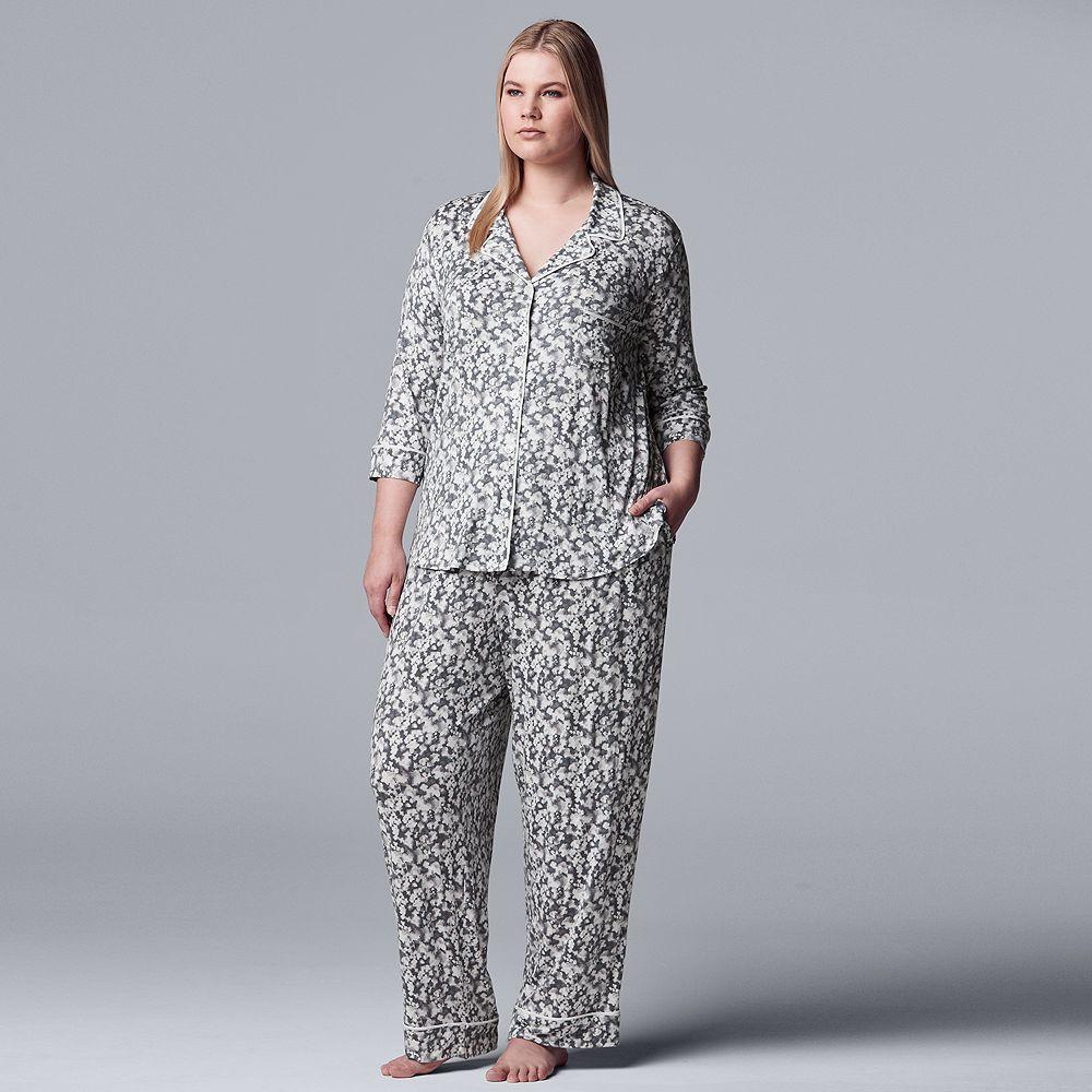 Plus Simply Vera Vera Wang Notch Collar Pajama Set