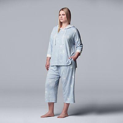 Plus Size Simply Vera Vera Wang Hooded Sleep Top & Pajama Culotte Set