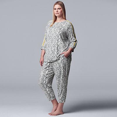 Plus Size Simply Vera Vera Wang Sleep Top & Cropped Pajama Pants Set