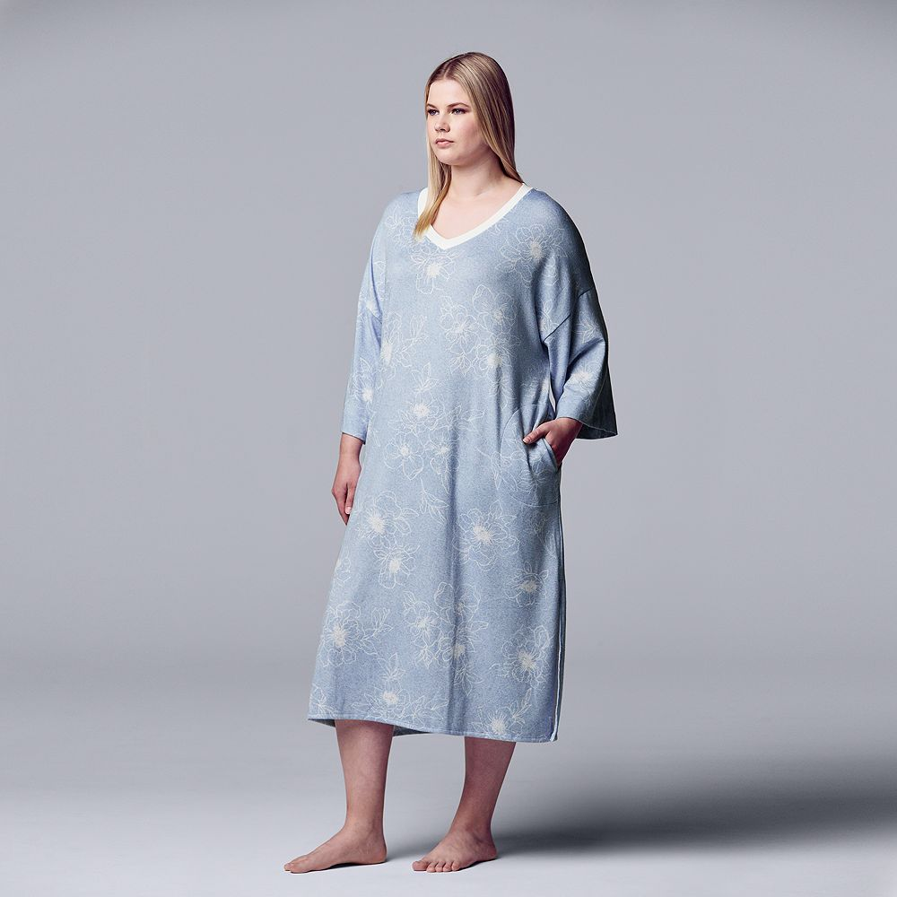 Plus Size Simply Vera Vera Wang Long V-Neck Sleepshirt