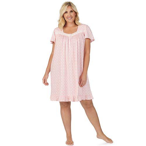 Women's Aria Short Sleeve Short Knit Gown Plus