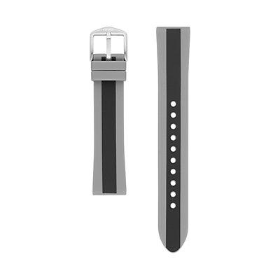 Fossil Women's 18 mm Black & Iron Stripe Silicone Watch Strap