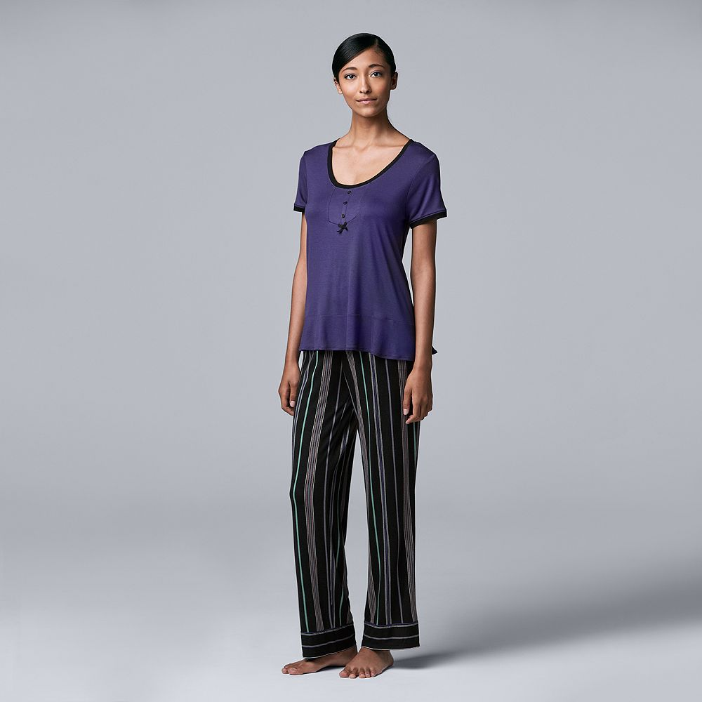 Women's Simply Vera Vera Wang Short Sleeve Top & Pant Set