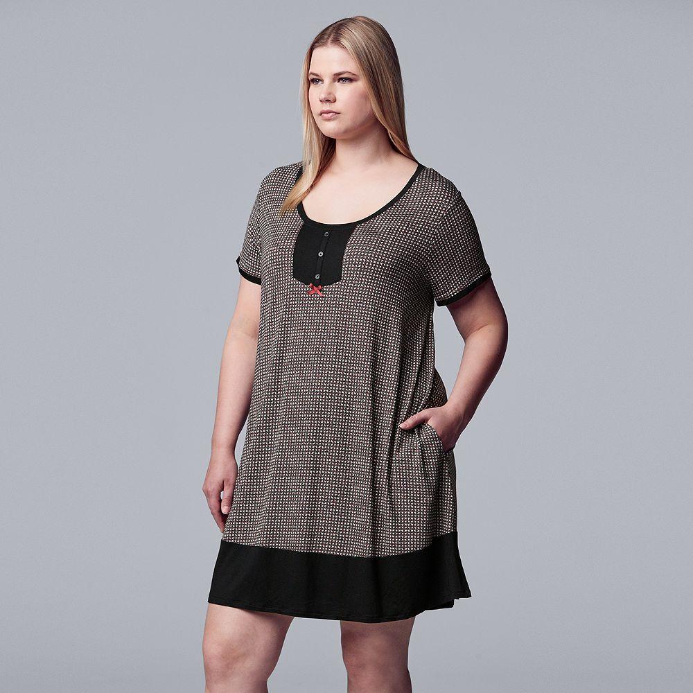 Women's Plus Size Simply Vera Vera Wang Short Sleeve Sleepshirt