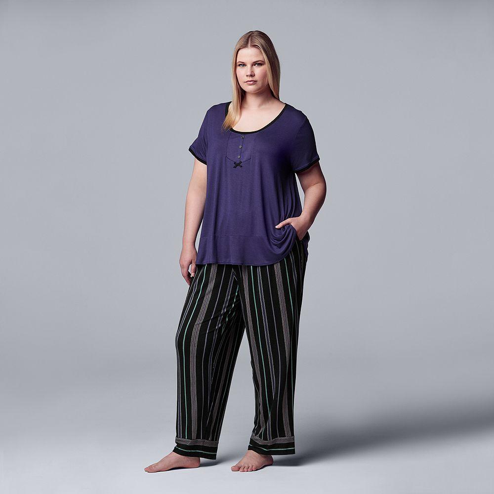 Women's Plus Size Simply Vera Vera Wang Short Sleeve Top & Pant Set